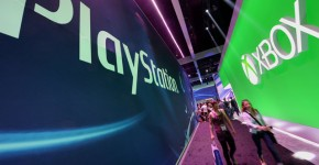 XBox and Playstation signs at Electronic Entertainment Expo